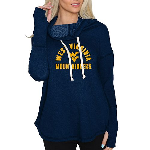 Women's Original Retro Brand Navy West Virginia Mountaineers Funnel Neck Pullover Sweatshirt