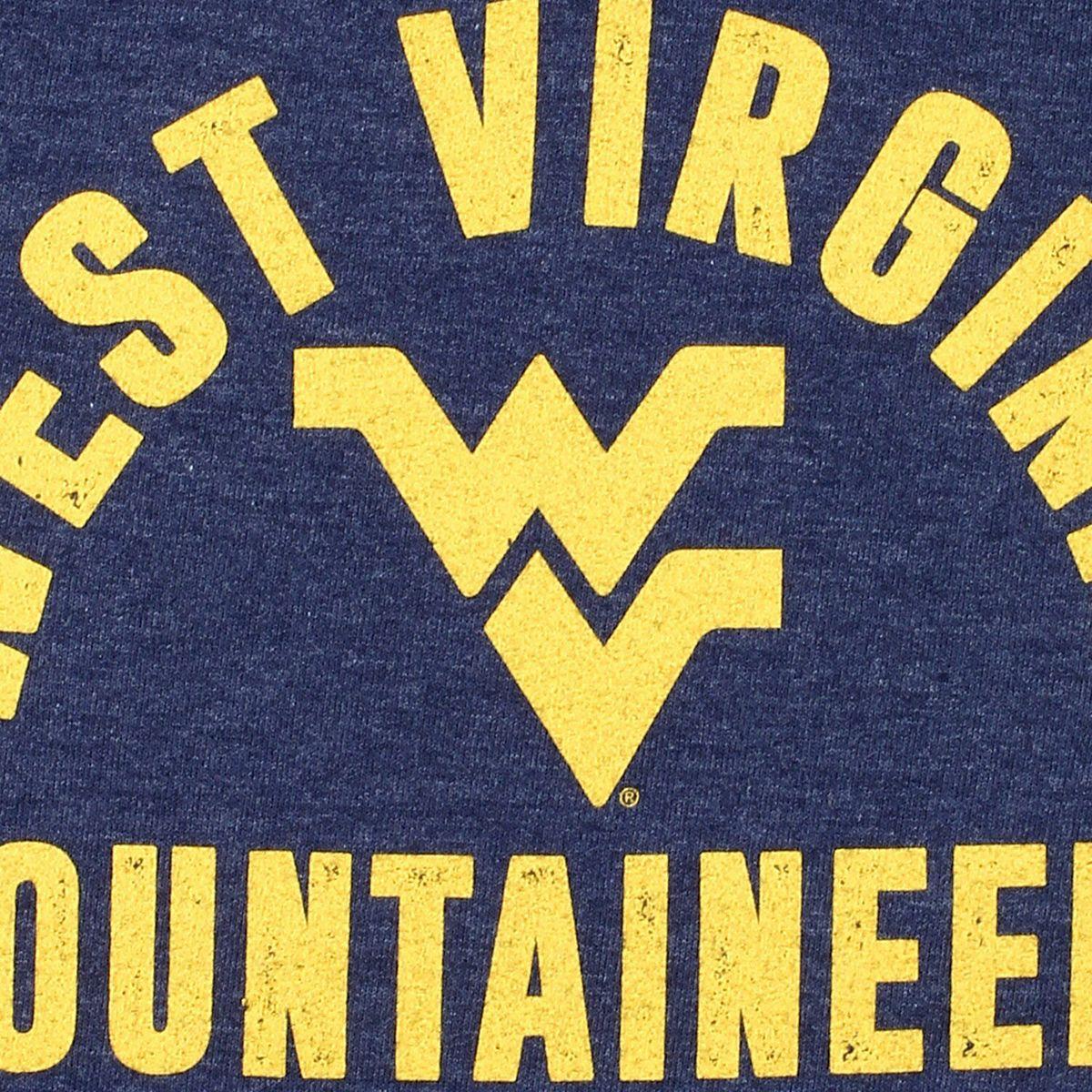Women's Original Retro Brand Navy West Virginia Mountaineers Funnel Neck Pullover Sweatshirt 1RAVi