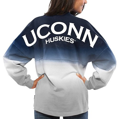 Women's Navy UConn Huskies Ombre Long Sleeve Dip-Dyed Spirit Jersey