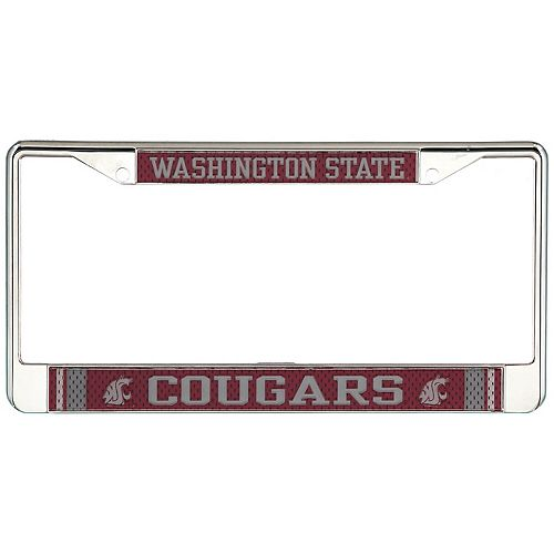 Washington State Cougars Jersey Small Over Large Metal Acrylic Cut License Plate Frame