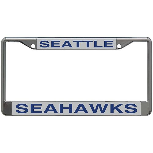Seattle Seahawks Metal Frame Acrylic Top & Bottom Inlaid Mirror License Plate Frame