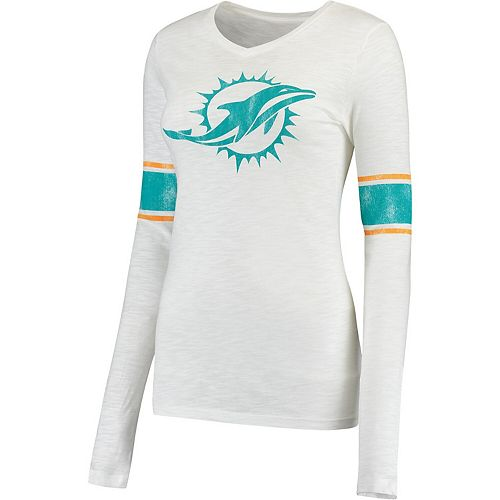 Juniors White Miami Dolphins Team Leader V-Neck Long Sleeve T-Shirt