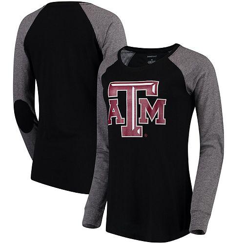 Women's Black/Gray Texas A&M Aggies Preppy Elbow Patch Slub Long Sleeve T-Shirt