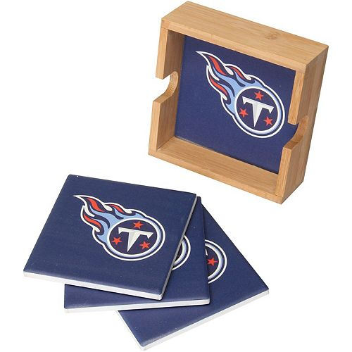 Tennessee Titans 4-Pack Square Coaster Set with Caddy