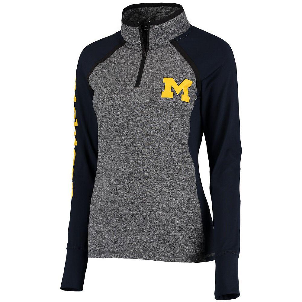 Women's Gray/Navy Michigan Wolverines Finalist Quarter-Zip Pullover Jacket