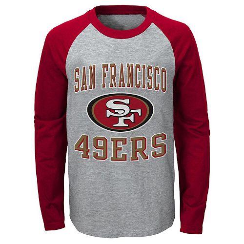 buy popular c3453 d25d0 Youth Heathered Gray/Scarlet San Francisco 49ers Fan Gear Constant Raglan  Long Sleeve T-Shirt