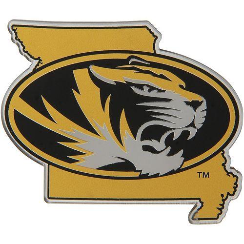 Missouri Tigers State Shape Acrylic Metallic Auto Emblem
