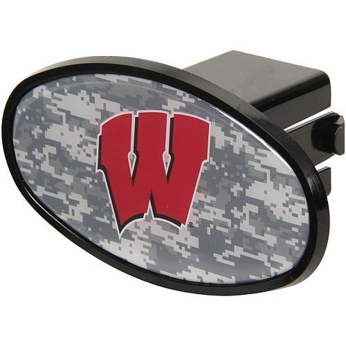 "Wisconsin Badgers Plastic Oval Fixed 2"" Digi Camo Hitch Receiver"