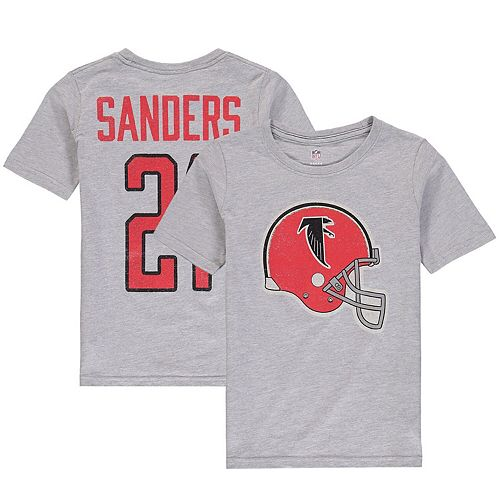 Youth Deion Sanders Heathered Gray Atlanta Falcons Retired Player Vintage Name & Number T-Shirt