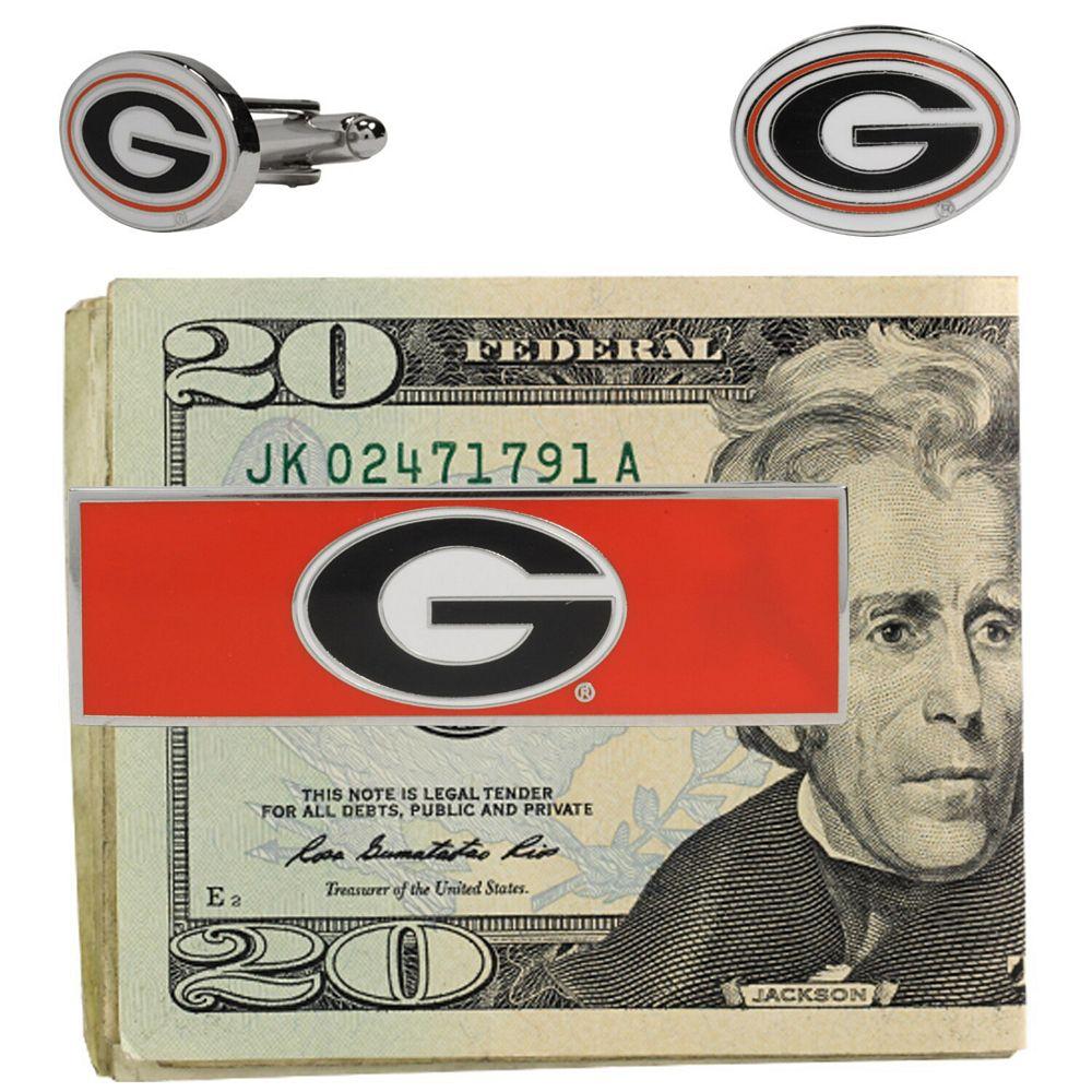 Georgia Bulldogs Cuff Links and Money Clip