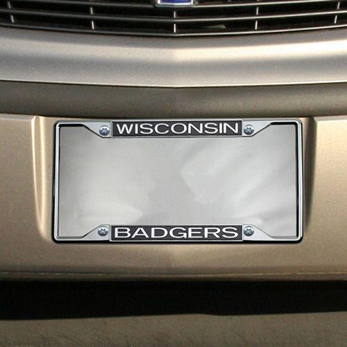Wisconsin Badgers Glitter License Plate Frame - Black