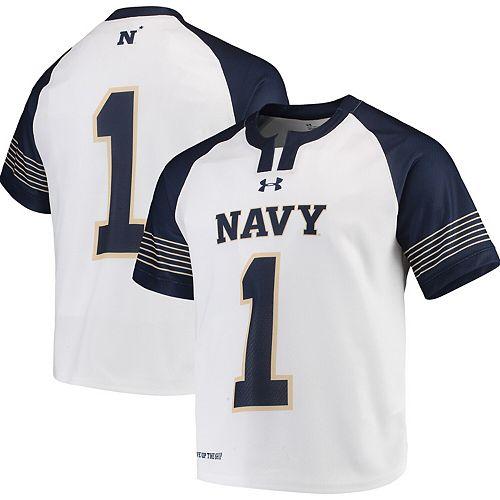 Men's Under Armour White Navy Midshipmen Replica Lacrosse Jersey