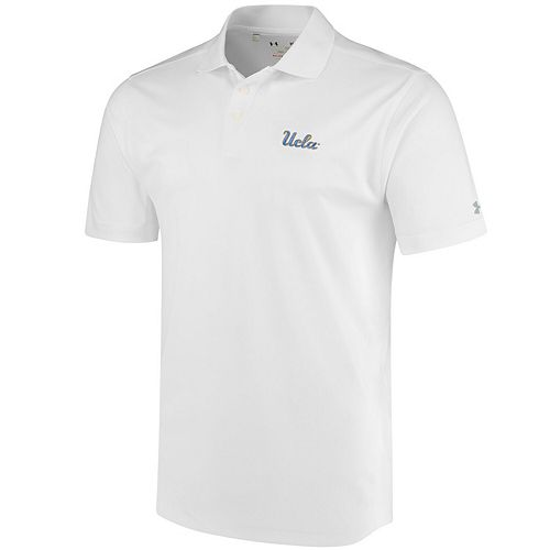 Men's Under Armour White UCLA Bruins Script Solid Performance Polo
