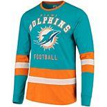 Men's G-III Sports by Carl Banks Aqua/Orange Miami Dolphins Even Strength Long Sleeve T-Shirt