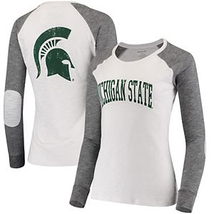 Women's White/Gray Michigan State Spartans Preppy Elbow Patch 2-Hit Arch and Logo Long Sleeve T-Shirt