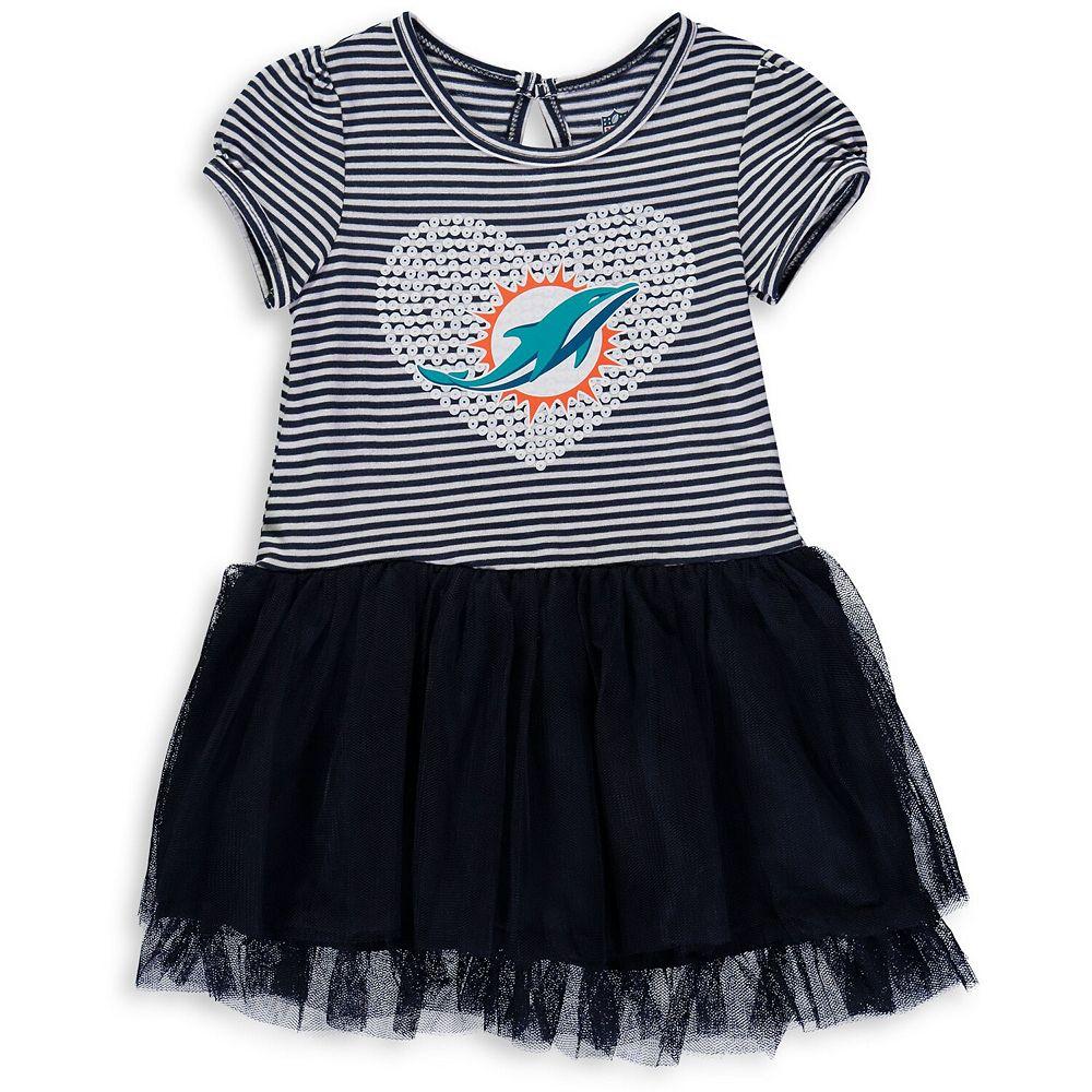 Girls Toddler Navy/White Miami Dolphins Celebration Scoop Neck Tutu Dress
