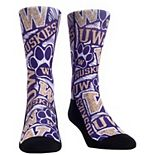 Youth Purple Washington Huskies Logo Sketch Crew Socks