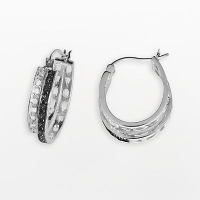 Sterling Silver 1/4-ct. T.W. Black and White Diamond Hoop Earrings