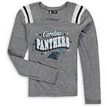 Girls Youth New Era Heathered Gray Carolina Panthers Starring Role Long Sleeve Tri-Blend V-Neck T-Shirt