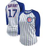 Women's Majestic Threads Kris Bryant White/Royal Chicago Cubs Pinstripe Player Name & Number Raglan 3/4-Sleeve T-Shirt