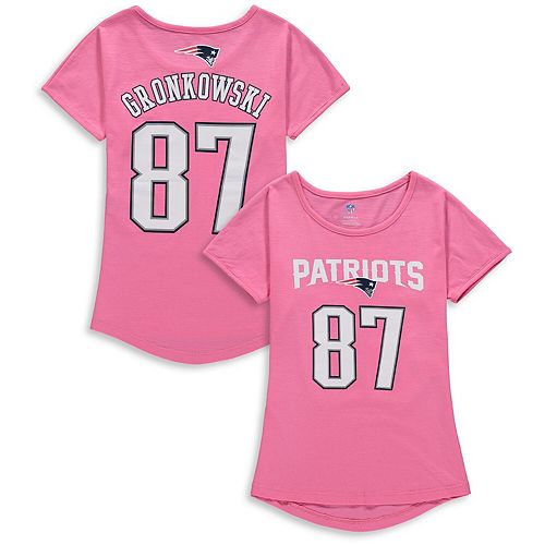 new product fe0f7 edfba Girls Youth Rob Gronkowski Pink New England Patriots Dolman Mainliner Name  & Number T-Shirt