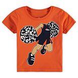 Girls Toddler Orange Denver Broncos Pom Pom Cheer T-Shirt