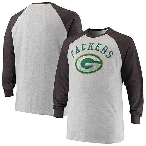 best authentic 8502a e5b94 Men's Heathered Gray Green Bay Packers Big & Tall Contrast Raglan Long  Sleeve T-Shirt