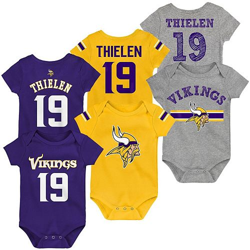 finest selection e88b4 5b1bc Newborn & Infant Adam Thielen Purple/Gold/Heathered Gray Minnesota Vikings  Name & Number Three-Pack Bodysuit Set