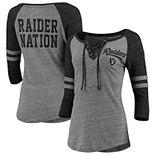 Women's New Era Heathered Gray/Heathered Black Oakland Raiders Lace-Up Tri-Blend Raglan 3/4-Sleeve T-Shirt