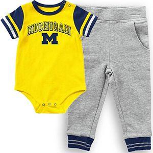 Infant Colosseum Maize Michigan Wolverines Baseball Bodysuit and Pants Set