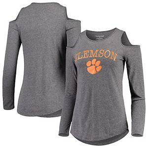 Women's Charcoal Clemson Tigers Cold Shoulder Long Sleeve T-Shirt