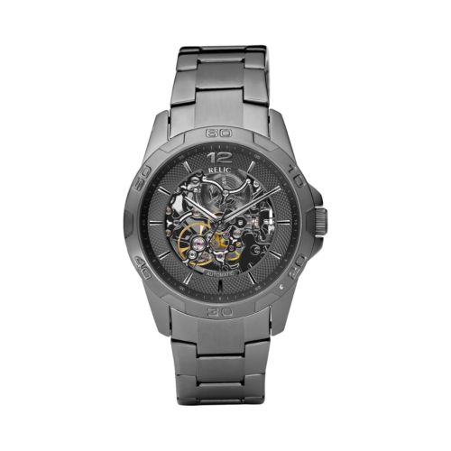 Relic Stainless Steel Gunmetal Automatic Skeleton Watch - Men