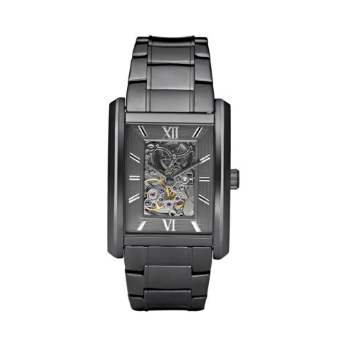 Relic Stainless Steel Automatic Gunmetal Skeleton Watch - Men