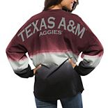 Women's Maroon Texas A&M Aggies Ombre Long Sleeve Dip-Dyed Spirit Jersey