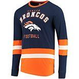 Men's G-III Sports by Carl Banks Navy/Orange Denver Broncos Even Strength Long Sleeve T-Shirt