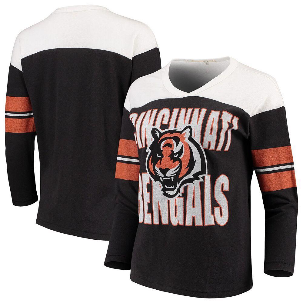 Women's Junk Food Black/White Cincinnati Bengals Throwback Football Long Sleeve T-Shirt