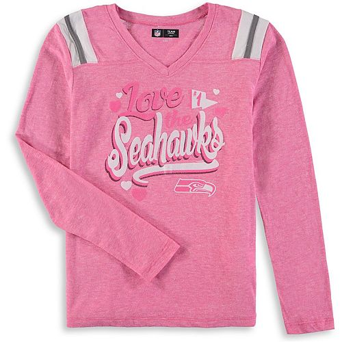 newest 03f5c 5a119 Girls Youth New Era Pink Seattle Seahawks Love for My Team Long Sleeve  Tri-Blend V-Neck T-Shirt