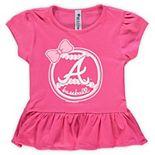 Girls Toddler Soft as a Grape Pink Atlanta Braves Ruffle T-Shirt