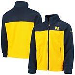 Youth Columbia Navy/Maize Michigan Wolverines Flanker II Fleece Full-Zip Jacket