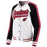 Women's New Era White/Black Arizona Cardinals Varsity Full Snap Jacket