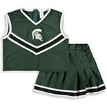 Girls Youth Green Michigan State Spartans Two-Piece Cheer Set