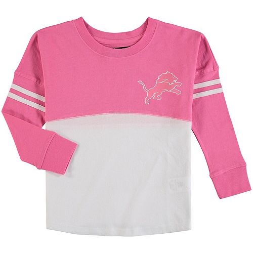 official photos c7ee2 e602d Girls Youth 5th & Ocean by New Era White/Pink Detroit Lions Varsity Crew  Long Sleeve T-Shirt
