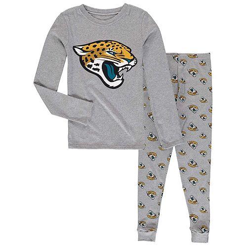 Youth Heathered Gray Jacksonville Jaguars Long Sleeve T-Shirt & Pants Sleep Set
