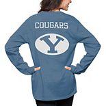 Women's Pressbox Navy BYU Cougars The Big Shirt Oversized Long Sleeve T-Shirt