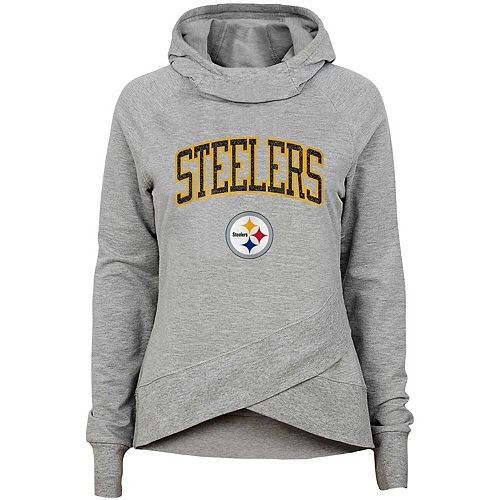 pretty nice a128c 81cb1 Youth Heathered Gray Pittsburgh Steelers Glam Girl Funnel Neck Pullover  Hoodie