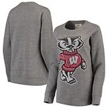 Women's Pressbox Heathered Gray Wisconsin Badgers Big Team Logo Knobi Fleece Tri-Blend Crew Neck Sweatshirt
