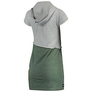 Women's Refried Tees Gray/Green Green Bay Packers Hooded V-Neck Mini Dress