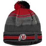 Men's Under Armour Gray/Red Utah Utes Sideline Cuffed Knit Hat with Pom