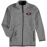Youth Heathered Gray San Francisco 49ers Sweater Knit Full-Zip Jacket