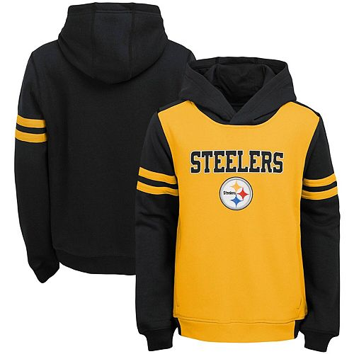 reputable site 64878 092ef Youth Gold Pittsburgh Steelers Retro Colorblock Pullover Hoodie